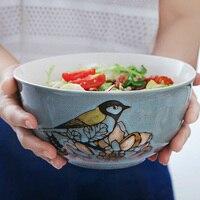 8 inch large soup bowl Creative household large bowl Ceramic bowl Fruit salad bowl Individual Western soup bowl tableware