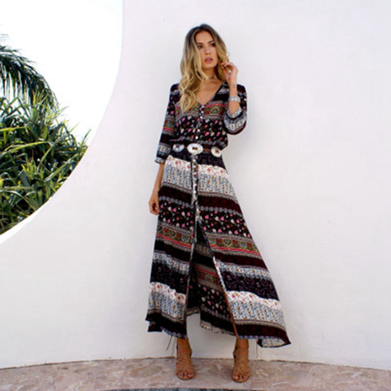 2018 Mousseline de Soie Plage Cover up Maillots De Bain Femmes Bohême Imprimer Longue robe Tunique Bikini Maillot de bain Cover ups Paréo de plage Cardigan