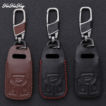 KUKAKEY Leather Car Key Case Cover For AUDI NEW Q7 A4L TT TTS A4 A5 S5 TFSI Smart Remote Protection Shell Styling