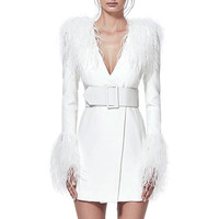 Newest Summer Celebrity Party Women Dress White Long Sleeve Feathers V Neck Sexy Elegant Night Out Dress Women Bodycon Vestidos