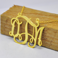 Wholesale Gold Monogrammed Necklace Personalized Nameplate Pendent Silver Cut Out 3 Initial Bridesmaid Jewelry Collar
