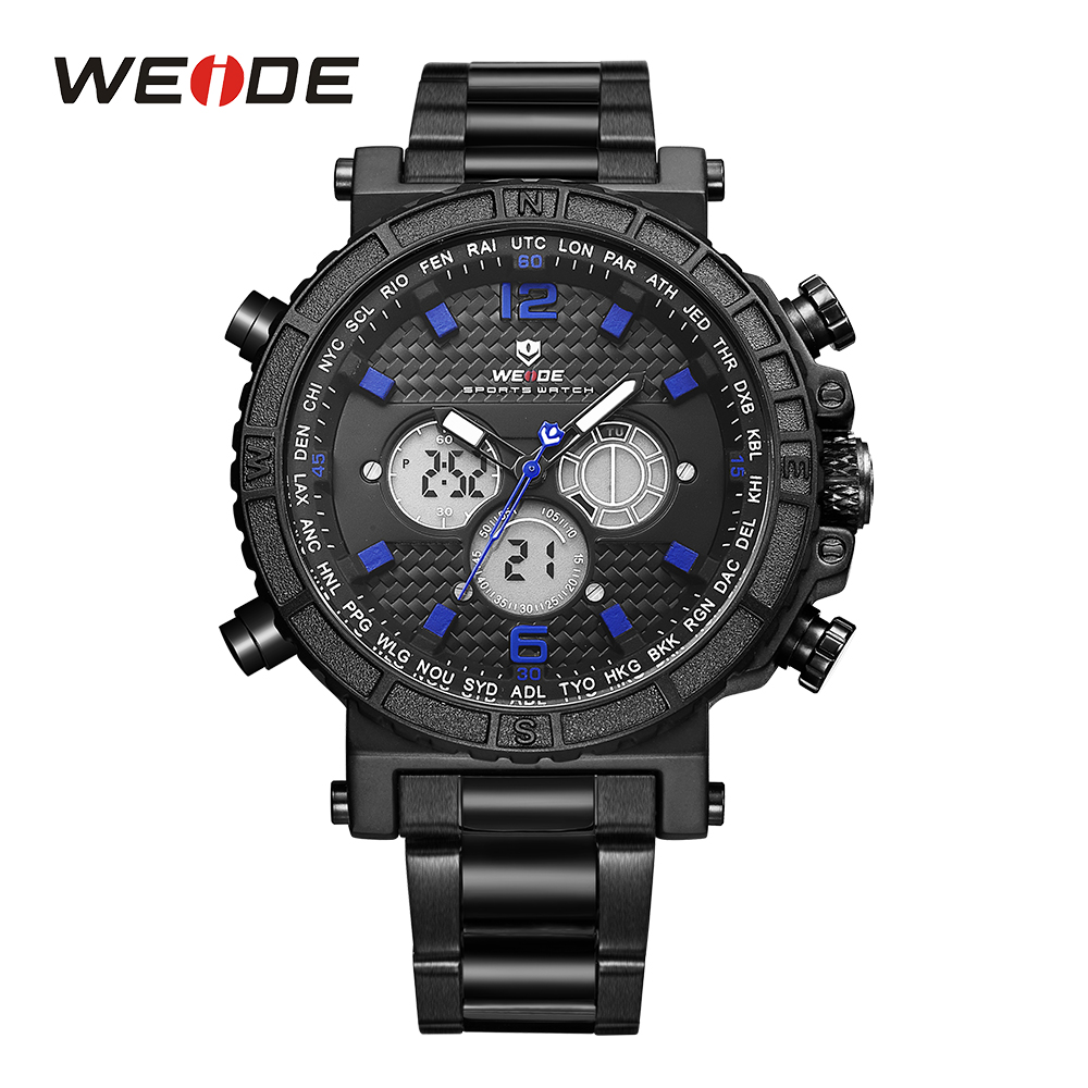 WEIDE Fashion Mens LCD Quartz Alarm Stopwatch Stainless Steel Band Analog Date Digital Black Dl Back Light Wristwatches weide men s sport watch white dial analog lcd dual time display date alarm stopwatch stainless steel band quartz digital watches