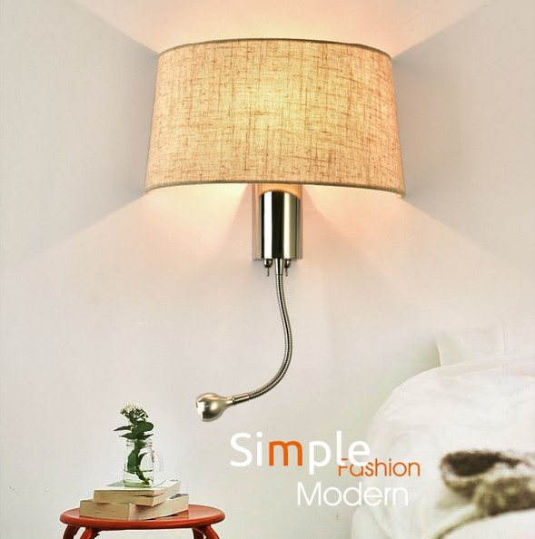 Simple Fabric Tall Wall Light: Simple Creative Fabric Wall Sconce Band Switch Modern LED