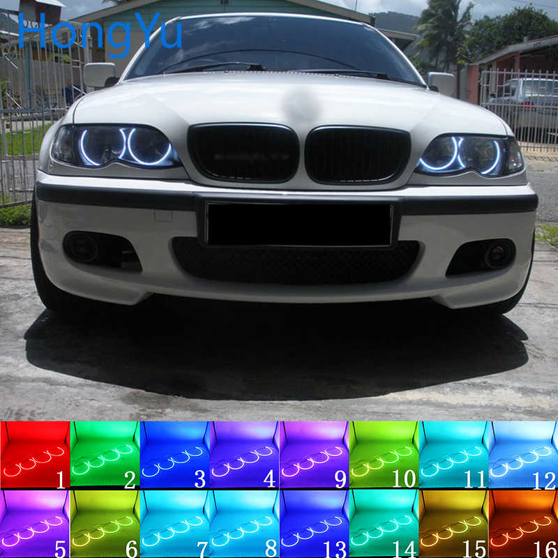 Headlight Multi-color LED Angel Eyes Halo Ring Eye DRL RF Remote Control for BMW 3 Series E46 Sedan Facelift 2001-05 Accessories