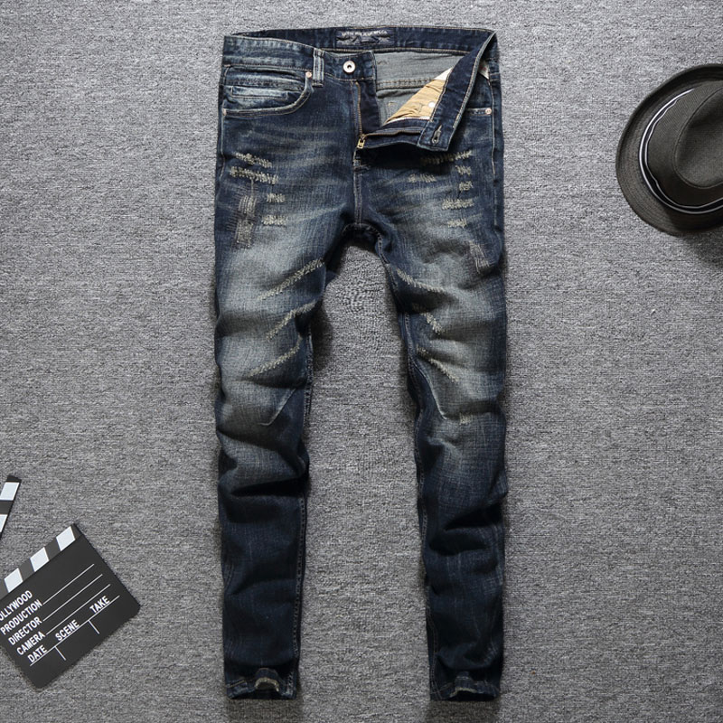 Italian Vintage Designer Men Jeans Slim Fit Classical Cotton Denim Pants Fashion Ripped Jeans Men Streetwear Hip Hop Jeans Homme