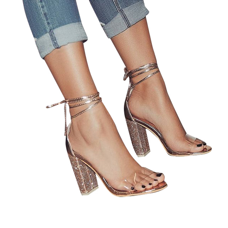 Fashion Bling Heels Women 39 s Party Sandals 2019 New Diamond Elegant Lace Up Solid Flock High Heels 13cm Shoes Women High Platform in High Heels from Shoes