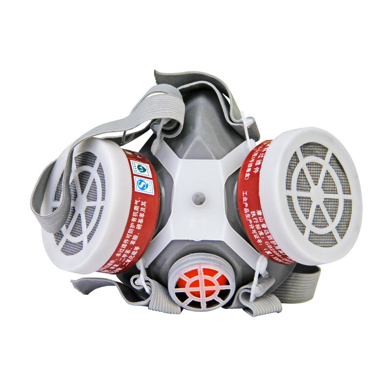 FD-402 Half Gas Mask Pro Double Cans Gas Mask Respirator Anti-Gas Anti-Dust Chemical Protective Mask Activated Carbon Set 37502respirator face gas mask painted activated carbon dust tight smoke proof chemical pesticide formaldehyde dust mask