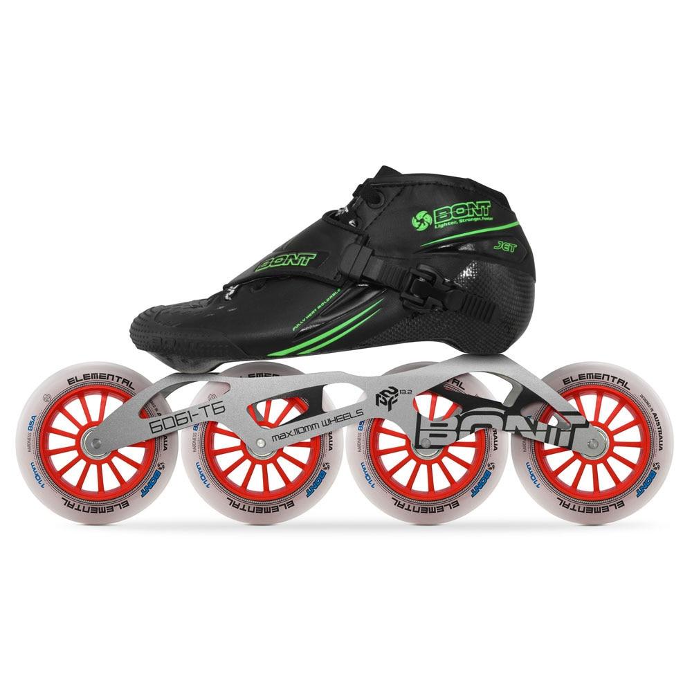 Image 2 - 2019 Original Bont Jet 2PT Speed Inline Skates Heatmoldable CarbonFiber Boot 4*90/100/110mm 6061 Elemental Wheel Skating PatinesSkate Shoes   -