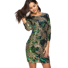 Green Leaf Sequin Dress 2018 New Spring Round Neck 3/4 Sleeve Dress Women Knee Length Sheath Slim Shiny Party Dresses Gatsby 2XL