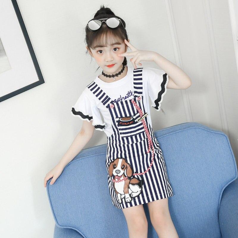 beaa8b0a62c3 Cheap Conjunto de ropa de verano para niñas de moda con estampado de perro  de dibujos