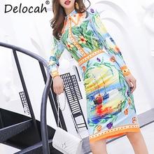 Delocah Autumn Women New Set Runway Fashion Designer Long Sleeve Flower Printed Slim Modern Mermaid Skirt Two Pieces