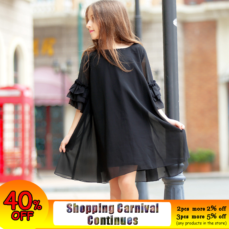 Big Girls Dress Age 10 12 years Summer Chiffon Dress Flare Sleeve Black Dress For Little Girl Size 6 7 8 9 Teenage Girls Clothes дрель aeg be 750 r 449160