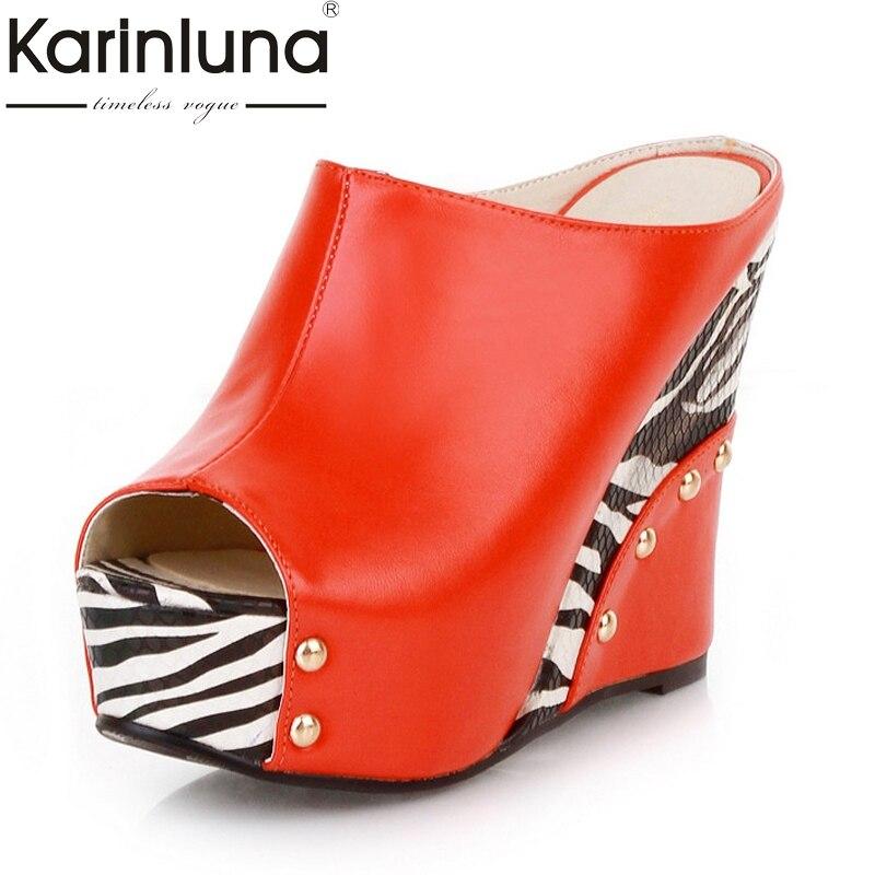 Karinluna Womens Punk Rivet High Heel Wedge Summer Shoes Woman Open Toe Platform Slippers Big Size 32-43Karinluna Womens Punk Rivet High Heel Wedge Summer Shoes Woman Open Toe Platform Slippers Big Size 32-43