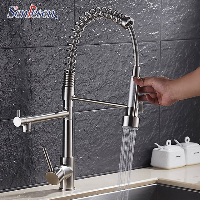 Luxury Brushed Nickel Spring Kitchen Faucet Single Handle Single Hole Double Spray Spring Vessel Sink Mixer Tap
