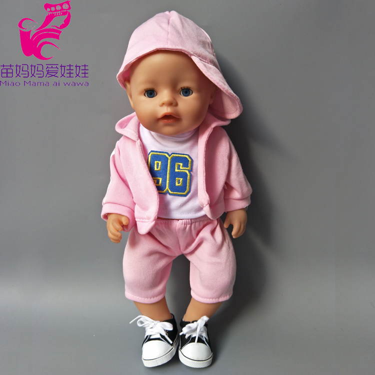 4 items a set Zapf Baby Born Dolls boy Clothes Pink Hooded Jacket pants shirt hat set 18 american girl doll Quality Sport Suit