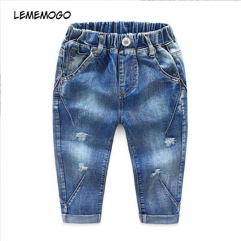 Lememogo 3-6 años otoño moda niños pantalones vaqueros de algodón de primavera luz elástico cintura Denim Jeans para bebé pantalones de niños