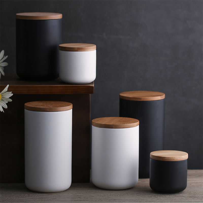 KINGLANG Nordic Style Ceramic Creative  Kitchen Storage Jar Food  Cans Sealed Bean Bottle