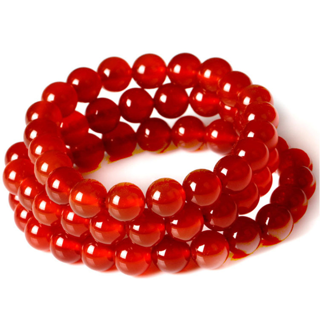 Rose Red Stone Beads Bracelets DIY Natural Red Stones Elastic Bracelet Jewelry Women Bracelet Gift For Best Friends B501