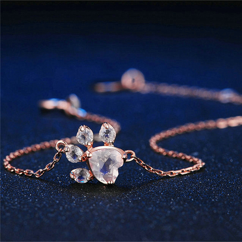 New Fashion Gift Jewelry Rose Quartz Paw Bracelet Dogs Footprints Chain