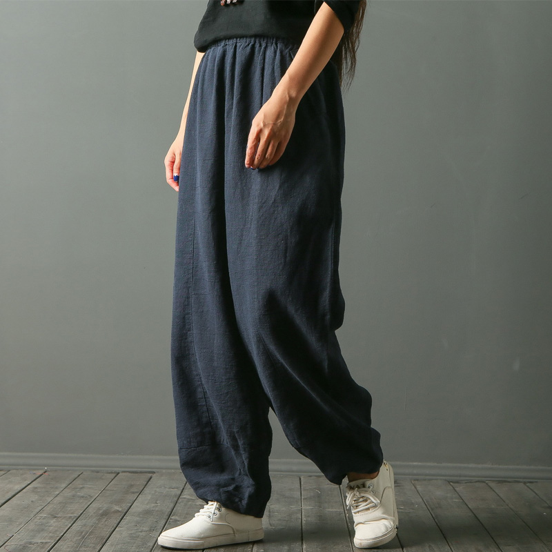 SCUWLINEN 2018 Trousers for Women Original Design Solid Loose Casual Elastic Waist Linen Long Harem Pants Female W3068 casual drawstring elastic waist loose harem pants for women