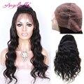 Angelbella pelucas llenas del cordón del pelo humano con el pelo del bebé barato naturales pelucas Onda Del Cuerpo Brasileño Rizado Pelucas Llenas Del Cordón para Las Mujeres Negras