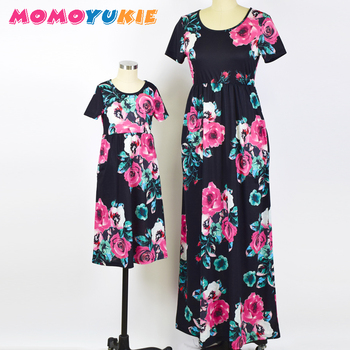 2018 Mommy and me family matching mother daughter dresses clothes striped mom and daughter dress kids parent child outfits look 4