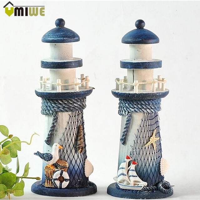 20cm Ornamental Home Decor Christmas Mediterranean Style Wood. Lighthouse  ...