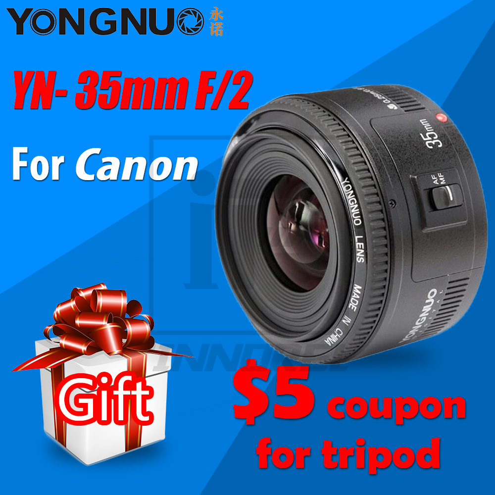 YONGNUO 35mm Lens YN35mm F2 Lens 1:2 AF/MF Wide-Angle Fixed Focus / Large Aperture Auto Zoom Lens For Canon EF Mount EOS Camera цена