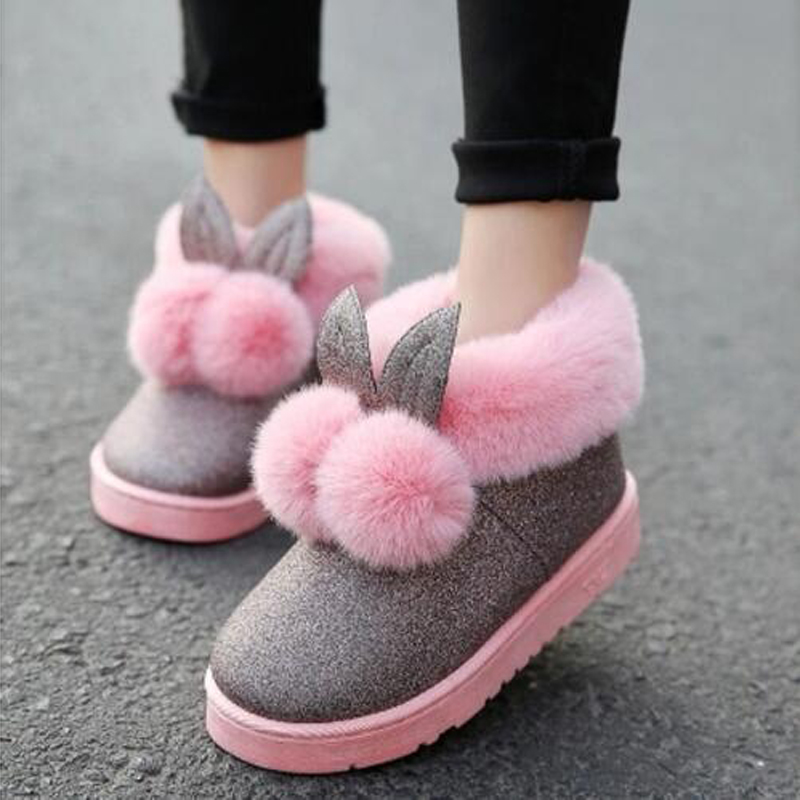 winter new women boots rabbit ears cute boots waterproof velvet thick warm cotton shoes slip on casual snow boots bjd doll boots two wear rabbit ears cut short boots in stock page sd13