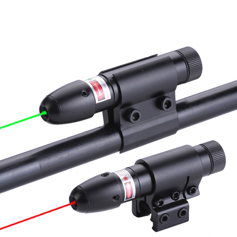 Tactical Bullet head shape Red Green Laser Sight Scope Barrel with Mounts 20mm / <font><b>11mm</b></font> Rail Mounts for Air Guns Hunting