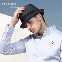 Faramita Holiday Summer Jazz Women Straw Hat Beach Men Papyrus Upscale Gentleman Casual Panama Male Cap Hemp Rope Patchwork Hats