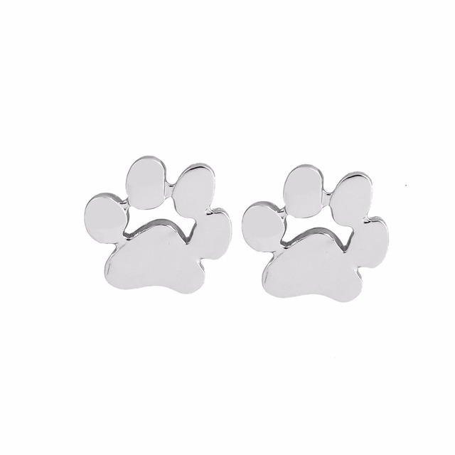 Jisensp Fashion Cute Paw Earrings for Women bijoux Piercing Jewelry Boho Brushed Cat and Dog Print Stud Earrings oorbellen 3