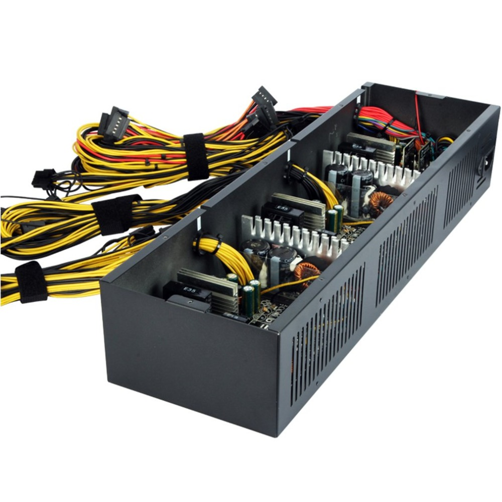 купить 2600W ATX Power Supply For Eth Rig Ethereum Coin Miner Mining Supports 12 Graphics Overclocking 90+ 24PIN Power Supply недорого