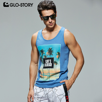 GLO-STORY Men's 2019 New 100% Cotton Vest Clothing  Fitness Clothing Style Summer Top Beach Gym Skateboard Casual MBX-8678