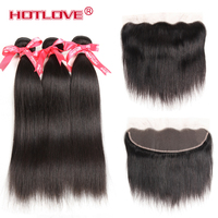 HOTLOVE Brazilian Straight Hair 3 Bundles With Frontal 13x4 Pre Plucked Non Remy Human Hair Lace