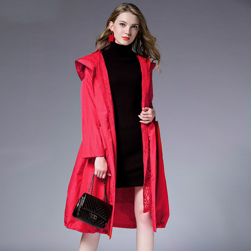 TUHAO 2019 Spring Long Trecn Coat Women Loose Slim Waist Solid Color Lace Patchwork Windbreaker Hooded