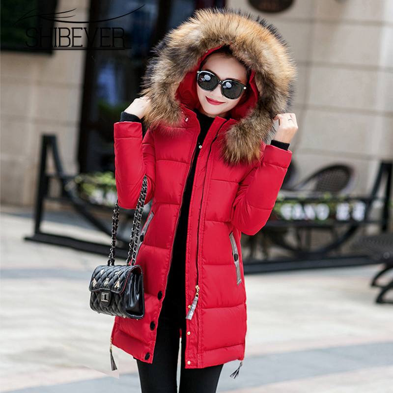 SHIBEVER Long Solid Winter Women Jackets Coats Casual 5 Colors Women Parka Warm Slim Female Jackets Ladies Cotton Outwear JT574