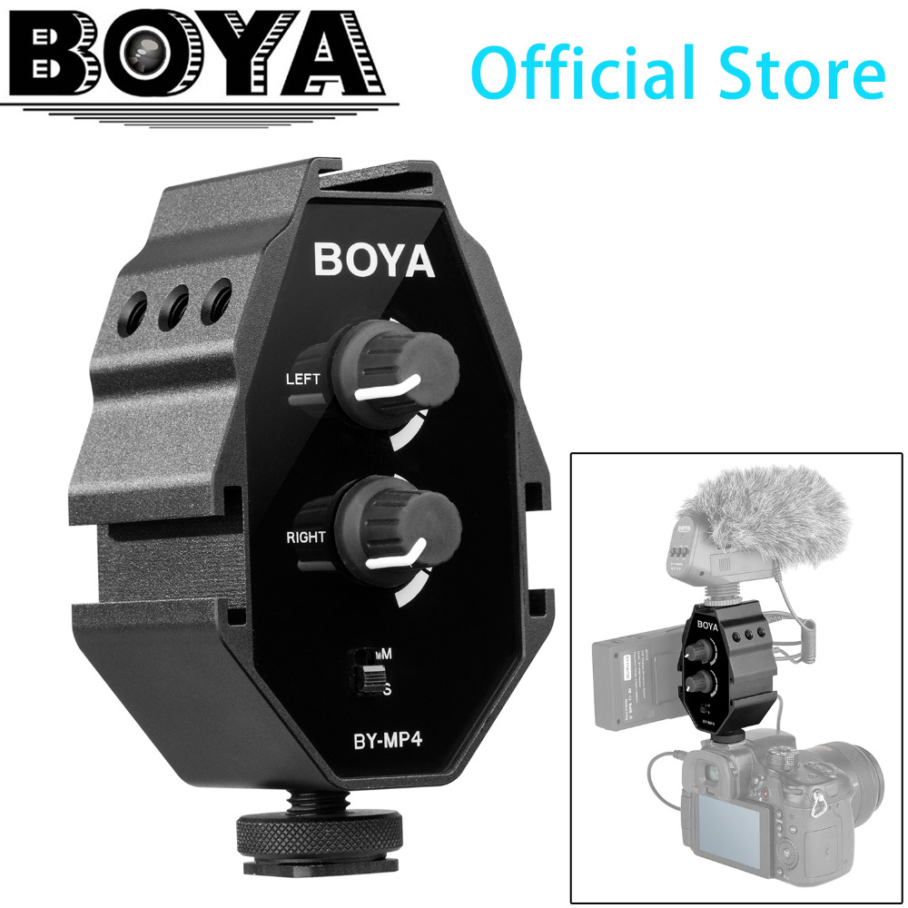 BOYA BY-MP4 2-channel Audio Adapter With Mono And Stereo Switch For IPhone 8 Canon Nikon DSLR Camera Sony Panasonic Camcorder