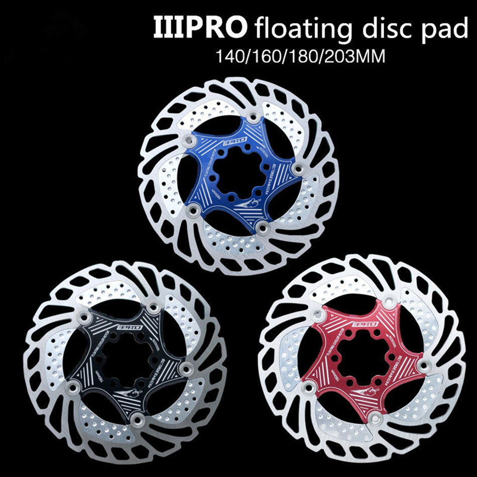 IIIPR vtt VTT vélo refroidissement flottant disque Pad 140/160/180/203mm Six ongles disque plaquettes de frein
