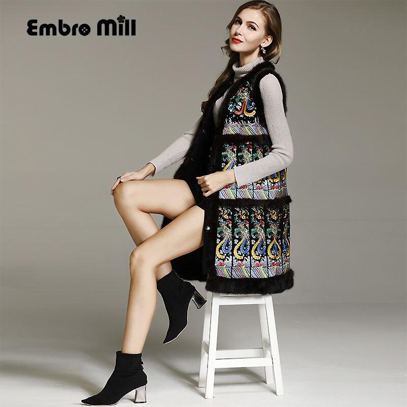 Китайский стиль Королевский пальто с вышивкой женские осенне зимние винтажные женские цветочные черный норки жилетка парки женские M XXL
