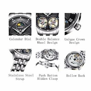 Image 4 - Double Tourbillon Switzerland BINGER Original Mens Automatic Self Wind Fashion Men Mechanical Wristwatch Black Leather Band