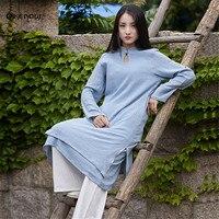 Qikenow Original Chinois Style Simple 2017 Automne Seul Bouton Linge Femmes Robe Lâche Robe L'antiquité Couture Robe CQ-011