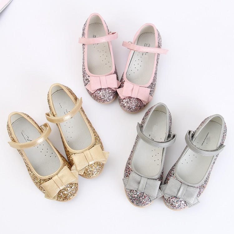 0533075f1 Princess Children's shoes girls Ballet dancers pink silver gold dance shoes  glitter pu leather toddler kids orthopedic shoes