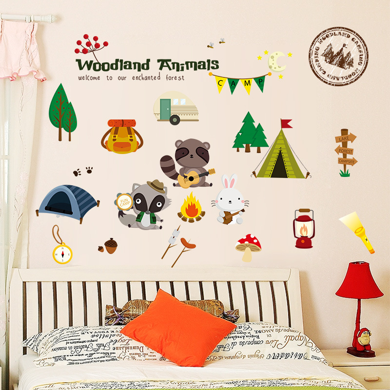 US $5.86 49% di SCONTO|Woodland Forest Animals Wall Stickers Per Bambini  Camere Decorazione Frigorifero Home Decor Nursery Stickers Murali Bambini  ...
