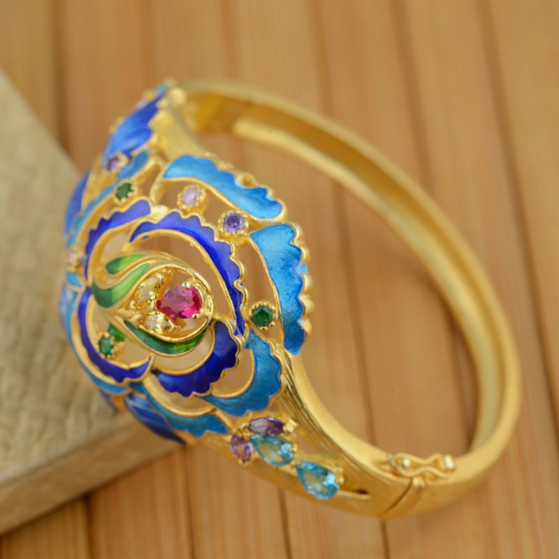 S925 Gold Sterling Silver Inlay Bracelet wholesale Shaolan women jewelry opening process - 2