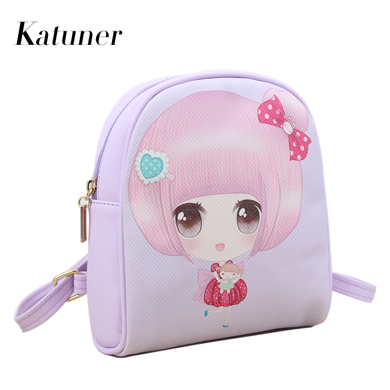 Katuner New Cute Cartoon Printing Backpack For Girls Woman Back Pack Student Small Leather School Bag Sac A Dos Femme KB051