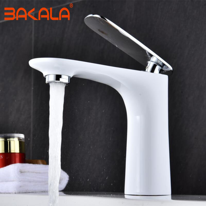 BAKALA Free Shipping New arrival Bathroom WHITE Basin Faucet Gold finish Brass Mixer Tap with ceramic