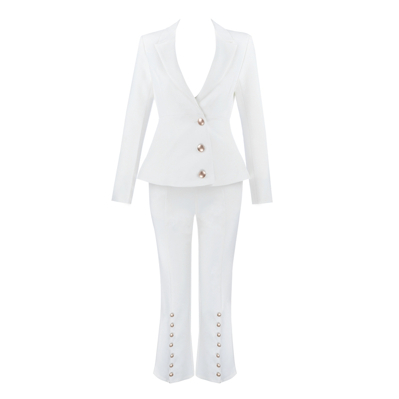 Beateen Women 39 s White Buttons Formal Elegant Blazer Pantsuits 2 Piece Suit Sets 2018 New Fashion in Pant Suits from Women 39 s Clothing