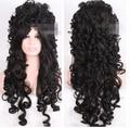 Hot heat resistant Kanekalon Party hair FREE SHIPPING>> Modern Marie Antoinette Victorian Renais long black cosplay hair wig