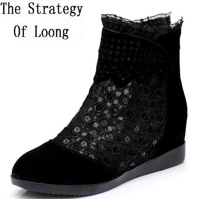 Women Summer Sandals Boots Nubuck Leather Flats Wedges Elevator Lace Beading Tassel Lady Gauze Cutout Plus Size 34-42 SXQ0728